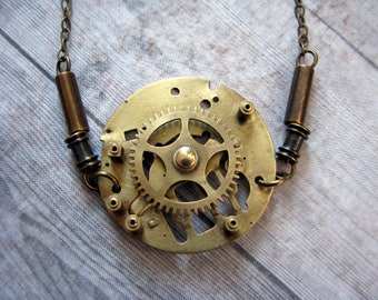 Steampunk raw brass clockwork mechanism necklace