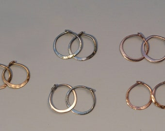 Small Solid Gold Hoops 10mm 14k Yellow Rose Gold or White Gold