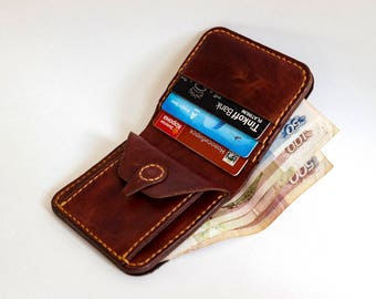 Compact leather wallet / womens wallet / mens wallet