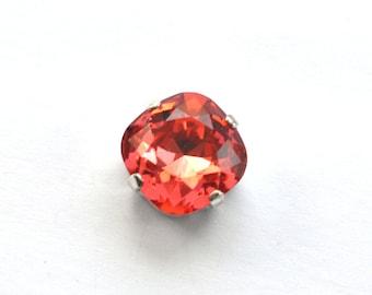 Padparadscha Swarovski 12mm Sew On Crystals 4470 Cushion Square 4 Hole Sliders 1 Piece
