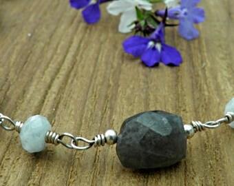 Aquamarine and Labradorite Sterling Silver Necklace