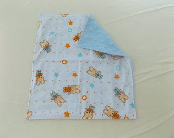 Sale - Little Boy Bunny Flannel and Minky Toddler Quilt, Security Blanket - Lovey, Baby, Carseat or Stroller Blanket