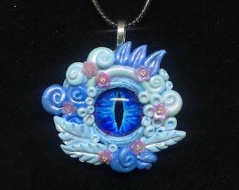 Blue Sakura Tentacle Creature Pendant