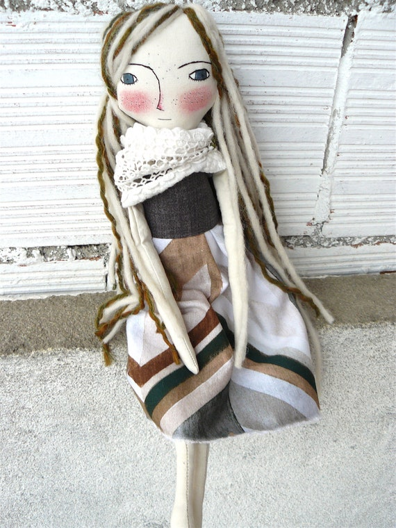 New more stylized model. Art doll in cotton. Silk and wool hair. 16 inches.