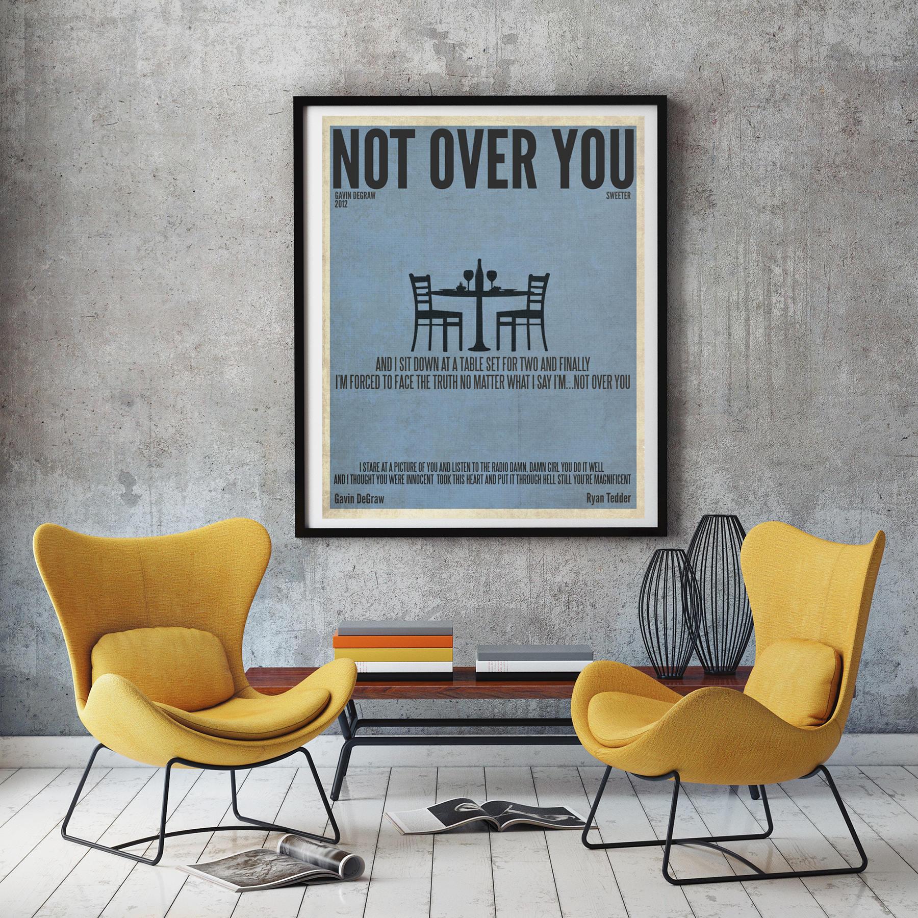 🔎zoom  sc 1 st  Etsy & Not Over You / Gavin DeGraw / Lyric / DIGITAL Minimalist