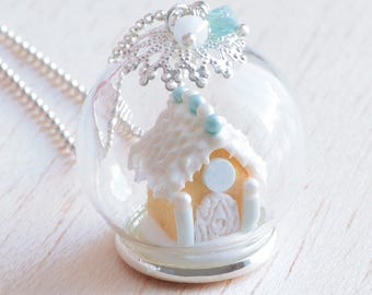 Gingerbread house necklace with gift box. Handmade polymer clay.