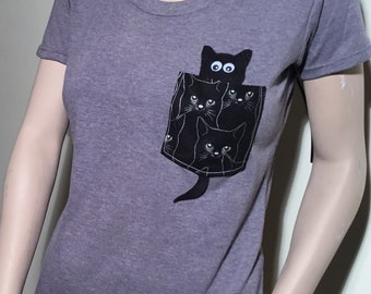 Pocket Shirt | Pocket Unisex | Pocket Tshirt | Womens Pocket Tee | Mens Packets Tshirt | Cat Pocket Tshirt |  Pocket Tee | Unisex