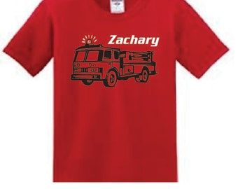 Personalized Fire Truck t shirt, boy fire engine tee with name