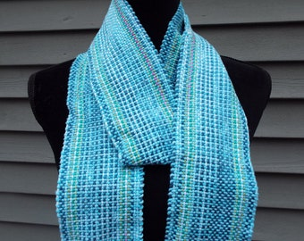 Blue Cotton Scarf,  Long Striped Scarf, Handwoven fashion scarf, womens scarf, gifts for mom, mothers day, lightweight spring scarf handmade