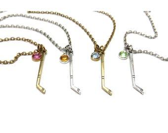 Ice Hockey Birthstone Necklace, Hockey Stick Necklace, Birthstone Necklace with Hockey Stick, Silver or Brass Finish