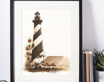 Cape Hatteras Lighthouse Watercolor Print, Nautical, Beach Decor
