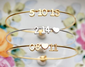Date Bangle Bracelet - Date Bracelet, Wedding Date, Anniversary Date Bracelet, Bridesmaid Gift, Personalized Gift, Valentine's Gift For Her
