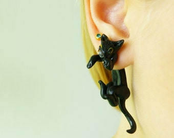 black cat earrings clinging earring halloween earrings cat stud earrings front back earrings fake gauge plug two part earring animal earring