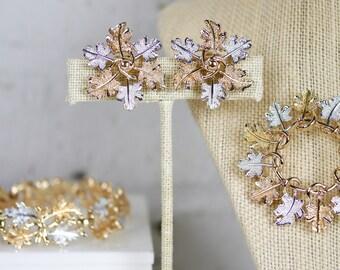 Sarah Coventry Garland Leaf Leaves Parure Bracelet Brooch Clip on Earrings