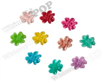 MIXED COLOR Lily Stargazer Flowers, Flower Cabochons, Flower Cabs, Lily Cabochon,  11mm x 13mm (R9-003)