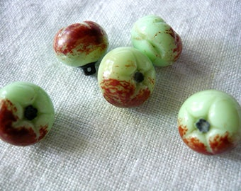 "5 vintage ""Apple"" hand-painted buttons"