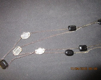 2 tier large black clear glass stones silver plated long chain necklace.