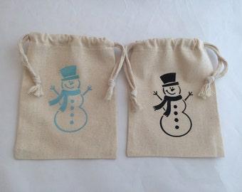 Christmas Gift Bag: Snowman Christmas Holiday Gift Bag or Favor bags, Childrens Classroom Gift Bags