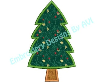 Christmas Tree Applique Machine Embroidery Designs 4x4 & 5x7 Instant Download Sale
