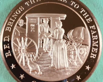 Franklin Mint Medal History of United States Series R.F.D. brings store to farmer, 1896  44mm Bronze Mint Cond<>#PSY-9