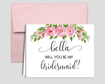 Will you be my Bridesmaid, Personalized Card. Roses with pink envelope
