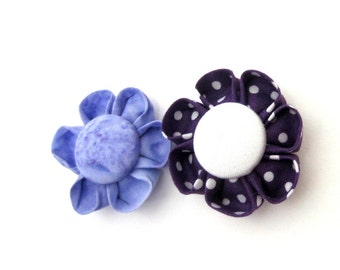 Set of 2 Flower Magnets in Purples, Fridge Magnets, Magnetic, Fabric Flower, Kanzashi Flower, Bulletin Board Magnet