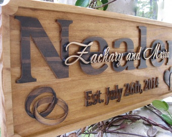 Personalized Wedding Gift Last Name Established Sign Family Name Sign Personalized Wedding Sign Rustic Blessed Signs 50th Anniversary Gifts