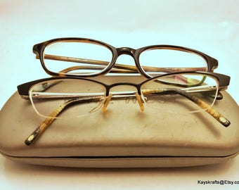 Nine West Eyeglasses and Beige Hard Glass Case Two Pair Eyeglasses Vintage Eyeglasses Designer Frames Metal Frame Plastic Frame