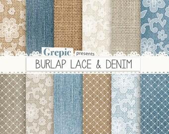 """Burlap digital paper: """"BURLAP LACE & DENIM"""" with blue, brown, white backgrounds feat. lace patterns, high res denim textures, burlap linen"""
