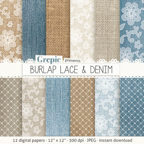 Burlap Digital Paper BURLAP LACE DENIM With Blue Brown White Backgrounds Feat Lace Patterns High Res Denim Textures Linen From Grepic On