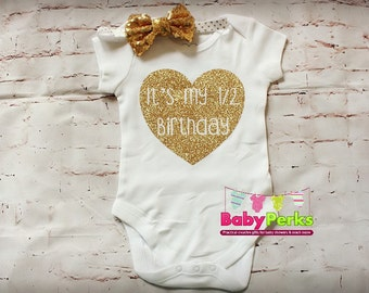 Half Birthday Outfit Girl Romper 6 Month Photo Pink And Gold