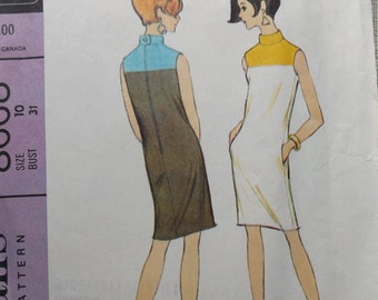 Jacques Tiffeau Design Sleeveless Three Panel Yoked Dress in Size 10 Complete 60s Vintage McCall's Sewing Pattern 8668