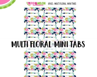 Multi FLORAL MINI Tab Stickers  | 18 Kiss-Cut Stickers | Planner Tabs, Midori Tabs, Bible Tabs, Divider Tabs, War Binder Tabs | IB165