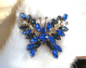 Large Rhinestone Butterfly Brooch Sapphire Blue & Clear Vintage