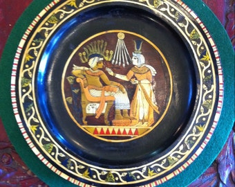 Vintage 1950's Egyptian Souvenir Lacquered Plate with Inlaid Scene