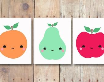 wall art set - kitchen prints set of 3 prints - kitchen printable art set - food art set - fruit print set - food print - apple pear orange