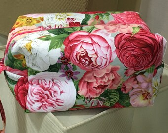 Top Seller -Tika Bags- Box Bag - Rose Garden, Knitting Bag, Project Bag ,KIP Bag