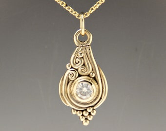 14ky Gold Moissanite Pendant/ Handmade One of a Kind Pendant/ Anniversary Gift/ Diamond Necklace/  For the Bride/ Gift for Her/ Victorian