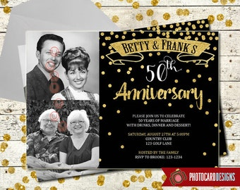 50th Anniversary Wedding Photo Invitation | 25th | Digital | Print file | Gold Anniversary Invitation | Anniversary Party | Wedding | 50