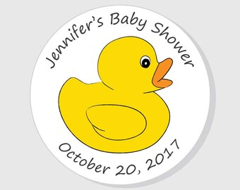 Duck Baby Shower Stickers - Thank You - Personalized White - Boy Girl Gender Neutral - Rubber Ducky for Favors - Envelope Seals