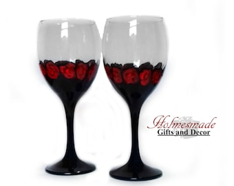 Hand painted wine glasses / gothic home decor / Gothic wine glasses / Third anniversary gift / Anniversary gifts for parents / uk