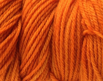 Land Orange Worsted Weight Hand Dyed Merino Wool Yarn
