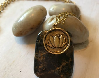Jasper pendant chain  necklace with lotus coin