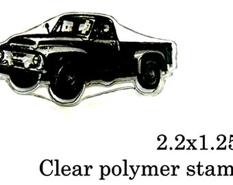 P51 Vintage pick up truck clear polymer rubber stamp