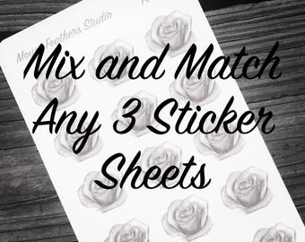 Mix and Match Any 3 Sticker Sheets -  Bundle Pack - Customize Your Sticker Sheet Pack
