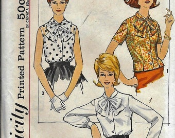 Vintage 1960s Simplicity 4676 Blouse Bow Tie Collar Sewing Pattern Size 12 Bust 32