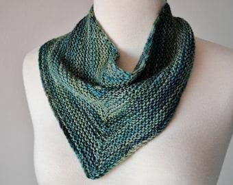 100 Percent Wool Aqua Blue Kerchief/Triangle Scarf/Miniscarf/Bandanna Cowl - Hand Knit Button Cowl in Soft Merino Wool Spring Fashion Knit