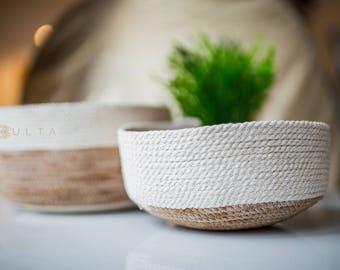 Stacking bowls - set of 2 - plant dyed rope bowls - jewelry bowls - storage - natural cotton rope - large basket - rope basket