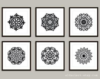 Mandala Art Prints - 8x8 or 8x10 - Modern Medallion Wall Art
