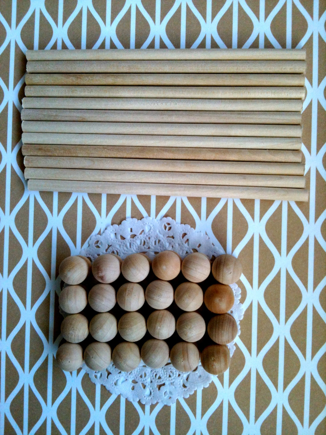 6 Pairs of 6 Wooden Scroll Rods with End Caps for DIY Wedding